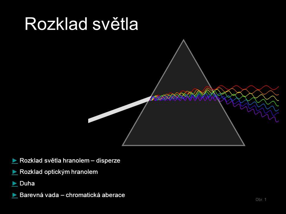 Obr. 1 Rozklad světla ►► Rozklad světla hranolem – disperze ►► Rozklad optickým hranolem ►► Duha ►► Barevná vada – chromatická aberace