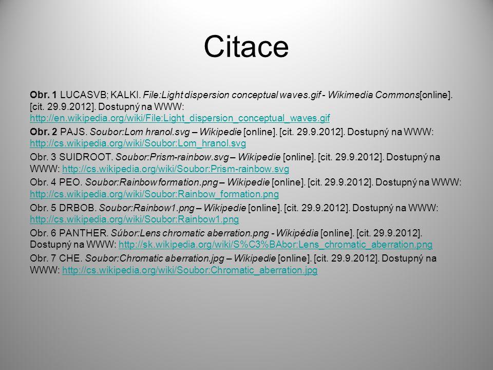 Citace Obr. 1 LUCASVB; KALKI. File:Light dispersion conceptual waves.gif - Wikimedia Commons[online]. [cit. 29.9.2012]. Dostupný na WWW: http://en.wik