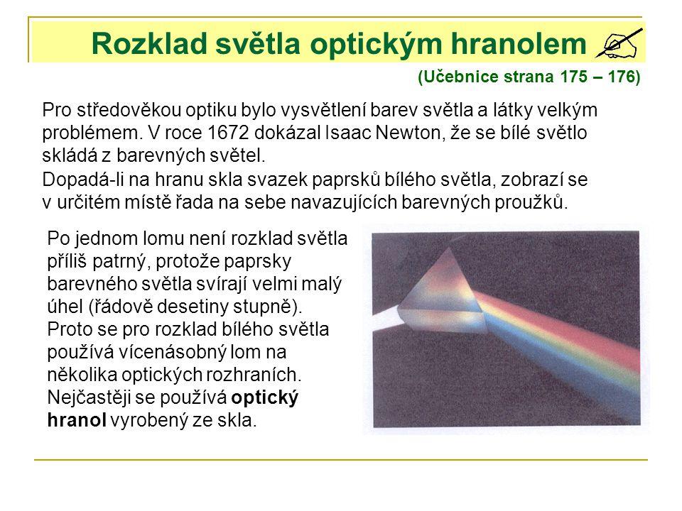 Rozklad světla optickým hranolem (Učebnice strana 175 – 176) Pro středověkou optiku bylo vysvětlení barev světla a látky velkým problémem. V roce 1672