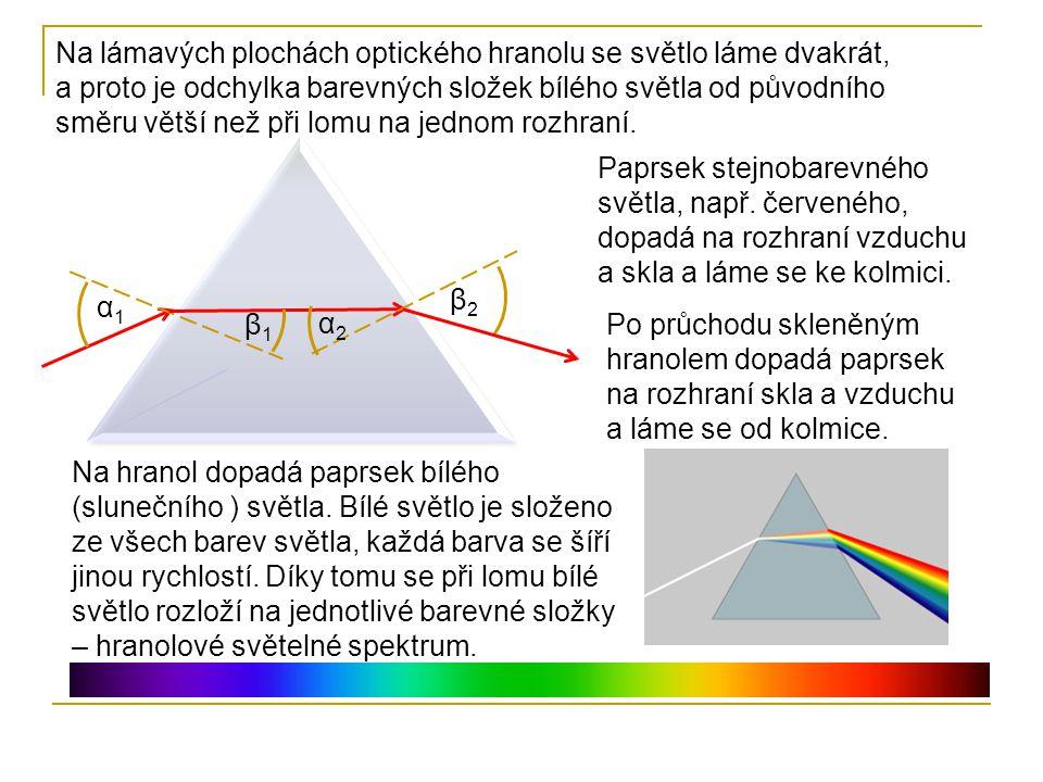 Na lámavých plochách optického hranolu se světlo láme dvakrát, a proto je odchylka barevných složek bílého světla od původního směru větší než při lom