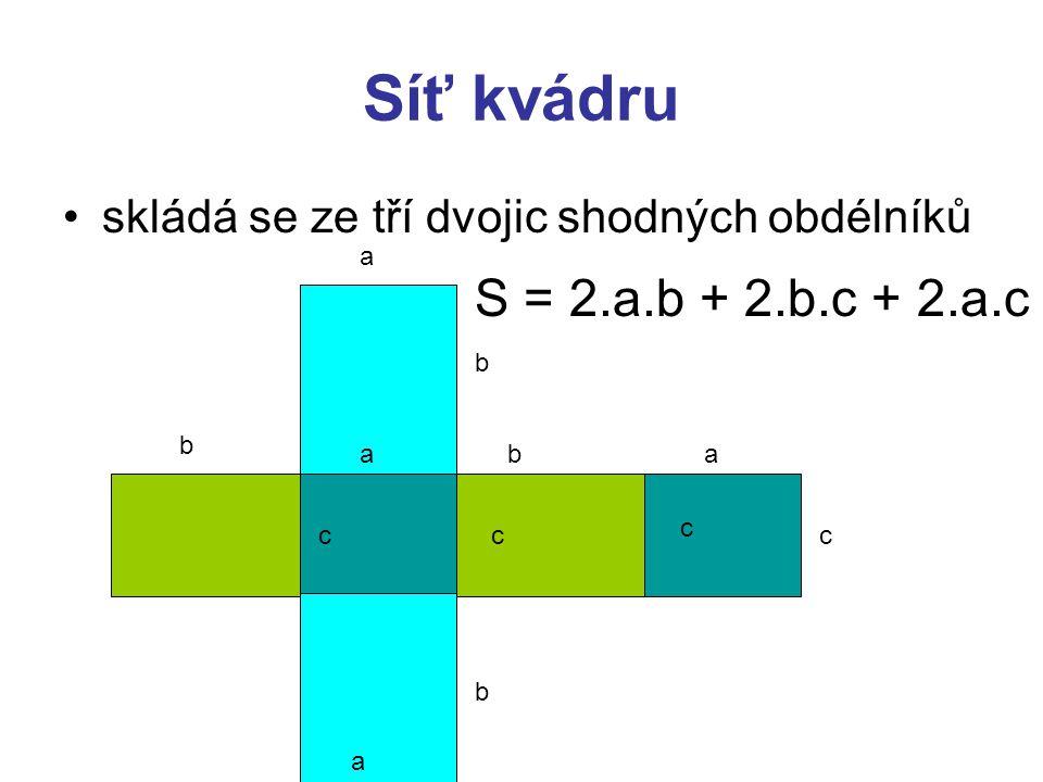 Síť kvádru skládá se ze tří dvojic shodných obdélníků a b ab a b c a c cc b S = 2.a.b + 2.b.c + 2.a.c