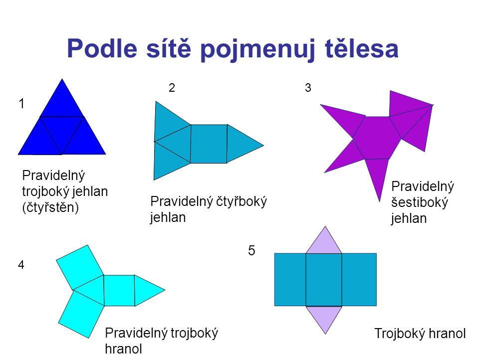 Podle sítě pojmenuj tělesa 23 4 Pravidelný trojboký jehlan (čtyřstěn) Trojboký hranol 1 Pravidelný čtyřboký jehlan Pravidelný šestiboký jehlan Pravide