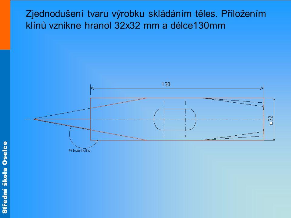 Střední škola Oselce Zjednodušení tvaru výrobku skládáním těles. Přiložením klínů vznikne hranol 32x32 mm a délce130mm