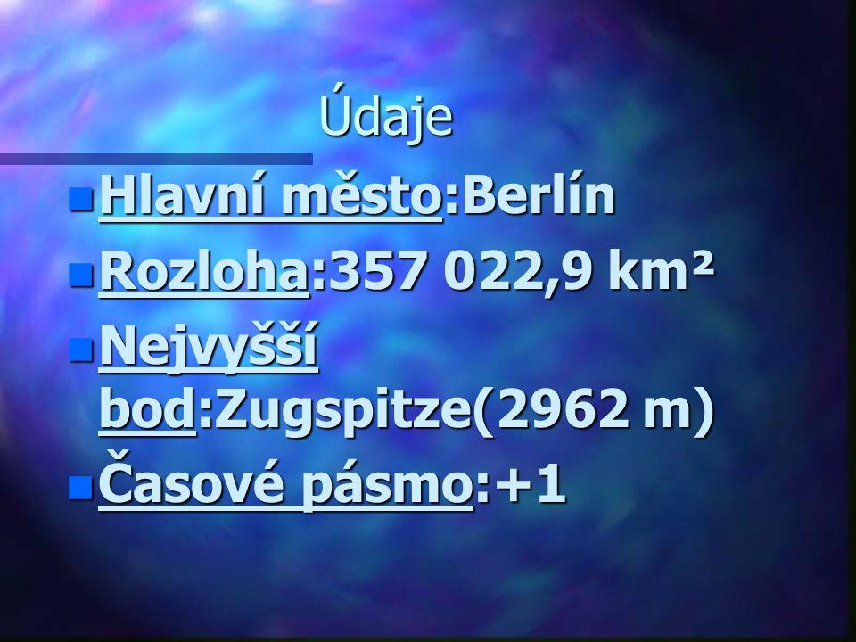Údaje n Hlavní město:Berlín n Rozloha:357 022,9 km² n Nejvyšší bod:Zugspitze(2962 m) n Časové pásmo:+1