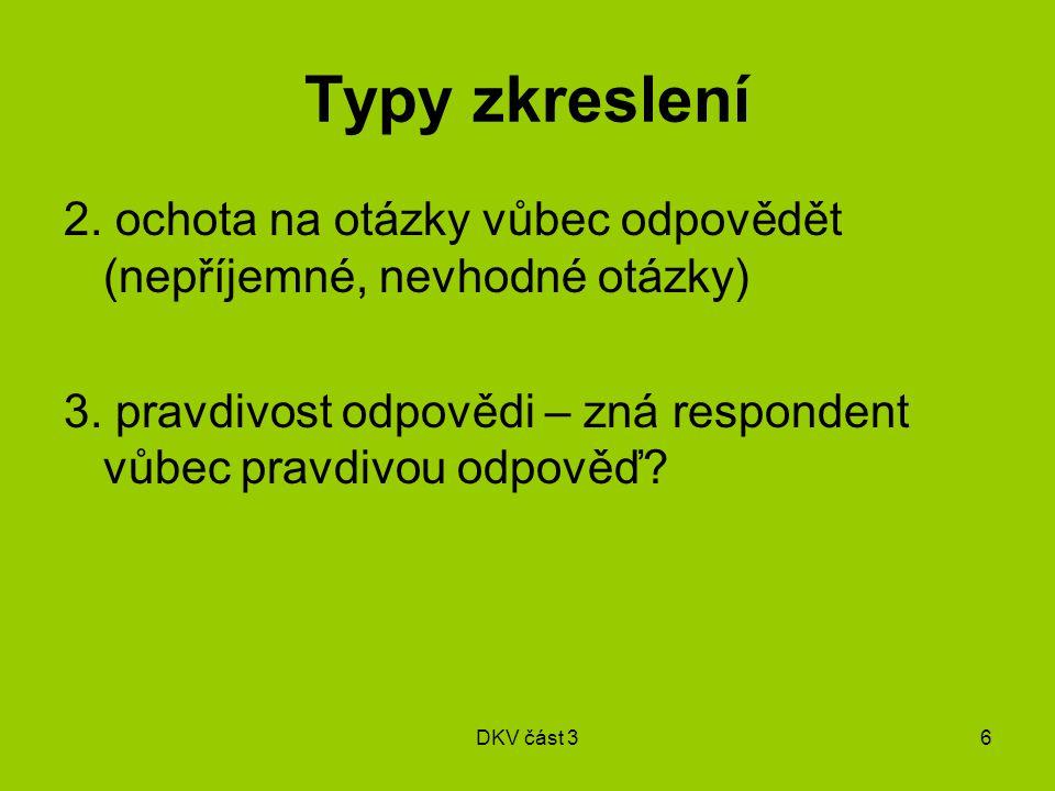 DKV část 36 Typy zkreslení 2. ochota na otázky vůbec odpovědět (nepříjemné, nevhodné otázky) 3.