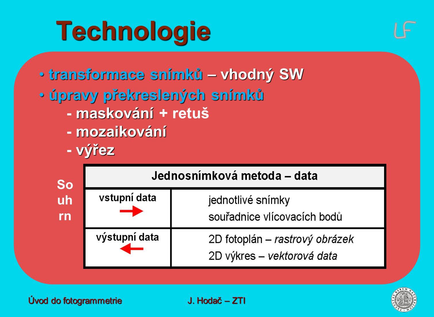 transformace snímků – vhodný SW transformace snímků – vhodný SW úpravy překreslených snímků maskování mozaikování výřez úpravy překreslených snímků - maskování + retuš - mozaikování - výřez So uh rn Technologie Úvod do fotogrammetrie J.