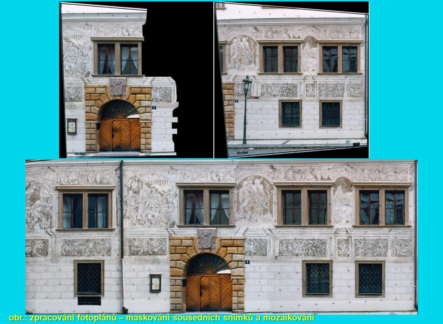 obr.: zpracování fotoplánů – maskování sousedních snímků a mozaikování