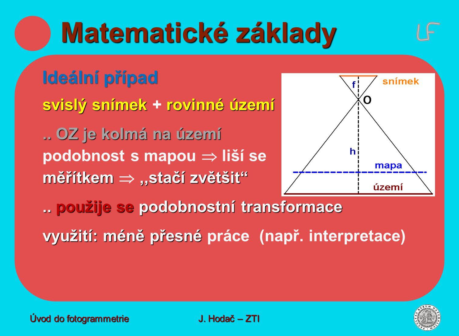 odvození Vliv výškového členění - odvození Vliv výškového členění na přesnost Úvod do fotogrammetrie J.