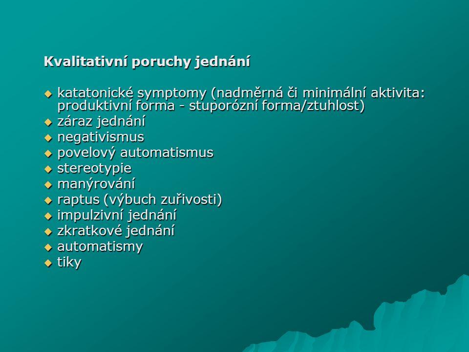 Kvalitativní poruchy jednání  katatonické symptomy (nadměrná či minimální aktivita: produktivní forma - stuporózní forma/ztuhlost)  záraz jednání 