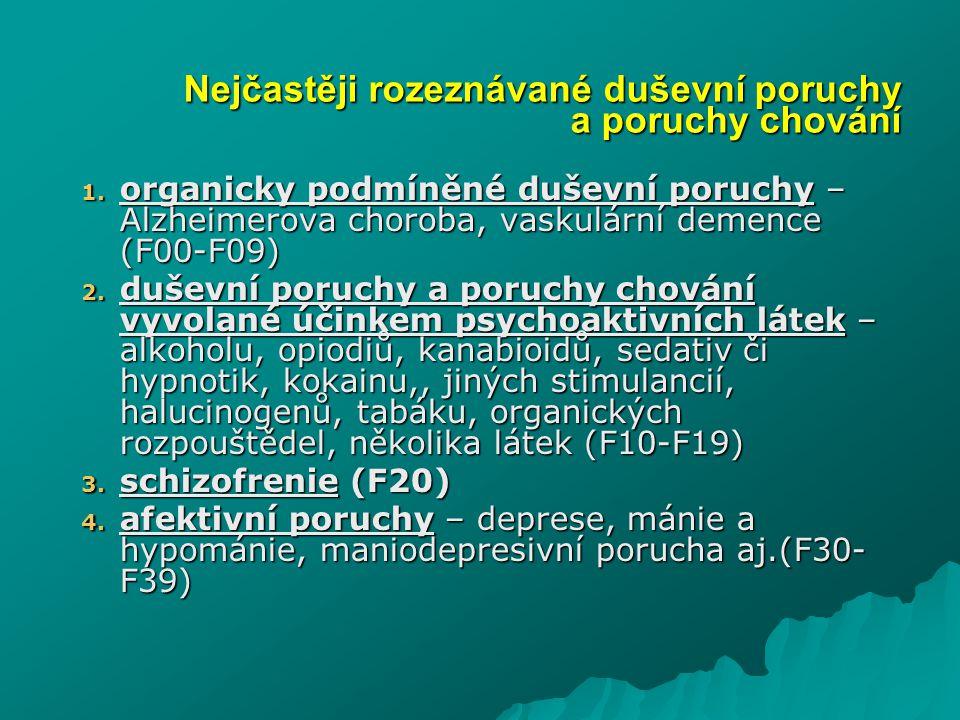 1. organicky podmíněné duševní poruchy – Alzheimerova choroba, vaskulární demence (F00-F09) 2. duševní poruchy a poruchy chování vyvolané účinkem psyc