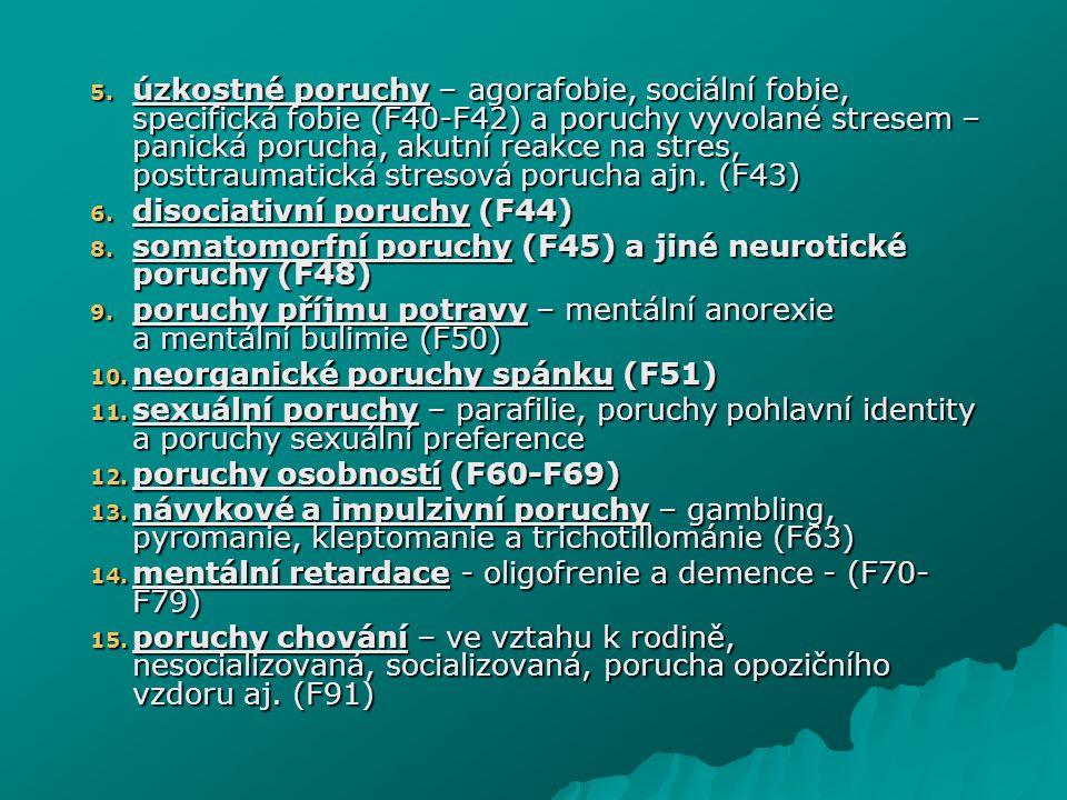 5. úzkostné poruchy – agorafobie, sociální fobie, specifická fobie (F40-F42) a poruchy vyvolané stresem – panická porucha, akutní reakce na stres, pos