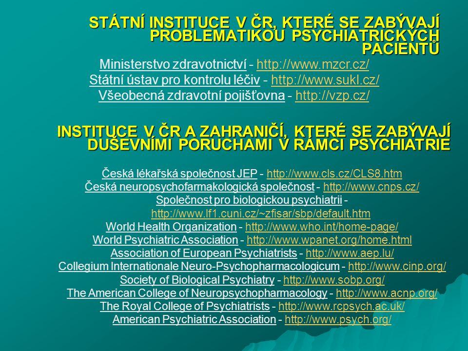 STÁTNÍ INSTITUCE V ČR, KTERÉ SE ZABÝVAJÍ PROBLEMATIKOU PSYCHIATRICKÝCH PACIENTŮ Ministerstvo zdravotnictví - http://www.mzcr.cz/http://www.mzcr.cz/ St