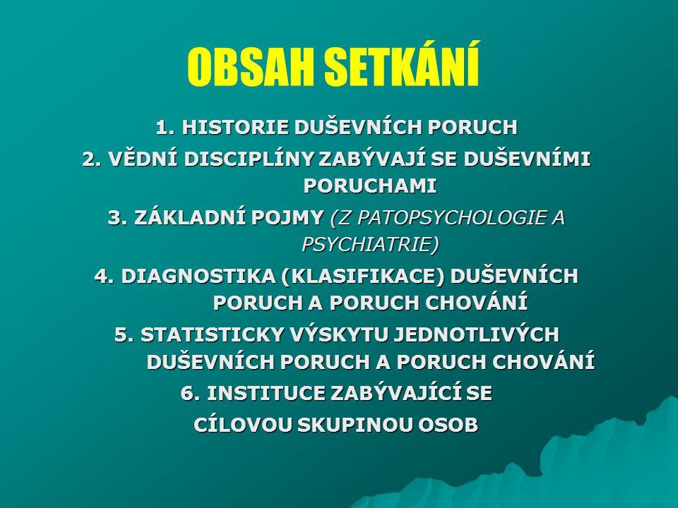 OBSAH SETKÁNÍ 1. HISTORIE DUŠEVNÍCH PORUCH 2. VĚDNÍ DISCIPLÍNY ZABÝVAJÍ SE DUŠEVNÍMI PORUCHAMI 3. ZÁKLADNÍ POJMY (Z PATOPSYCHOLOGIE A PSYCHIATRIE) 4.