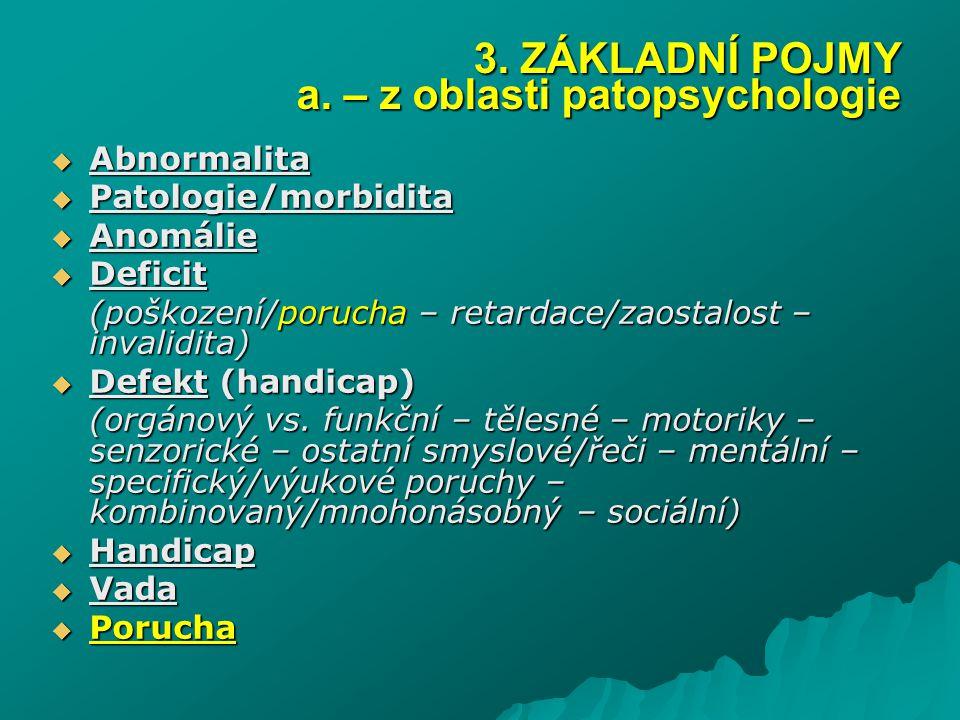  Abnormalita  Patologie/morbidita  Anomálie  Deficit (poškození/porucha – retardace/zaostalost – invalidita)  Defekt (handicap) (orgánový vs. fun