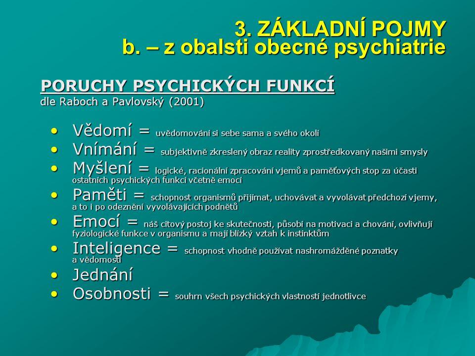 PORUCHY PSYCHICKÝCH FUNKCÍ dle Raboch a Pavlovský (2001) Vědomí = uvědomování si sebe sama a svého okolíVědomí = uvědomování si sebe sama a svého okol