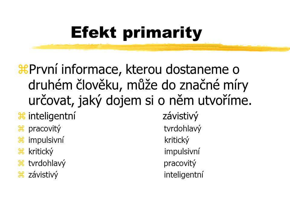 Efekt primarity zPrvní informace, kterou dostaneme o druhém člověku, může do značné míry určovat, jaký dojem si o něm utvoříme. zinteligentní závistiv