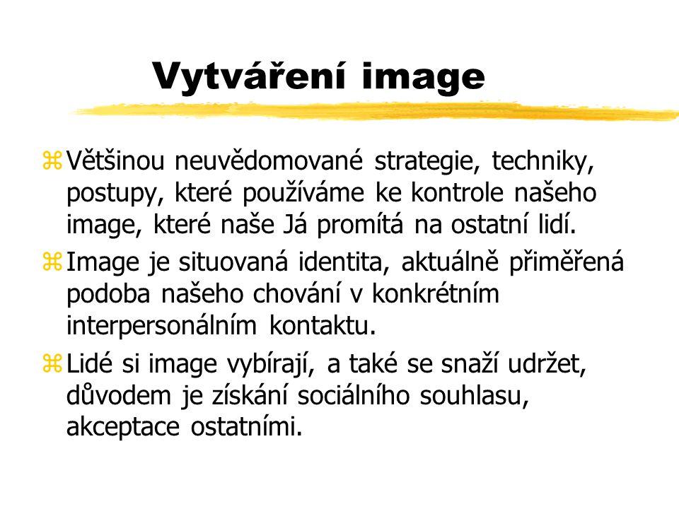 Vytváření image zVětšinou neuvědomované strategie, techniky, postupy, které používáme ke kontrole našeho image, které naše Já promítá na ostatní lidí.