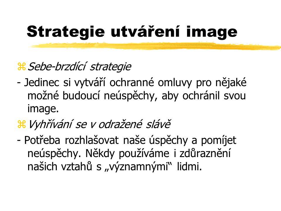 Strategie utváření image zSebe-brzdící strategie - Jedinec si vytváří ochranné omluvy pro nějaké možné budoucí neúspěchy, aby ochránil svou image. zVy