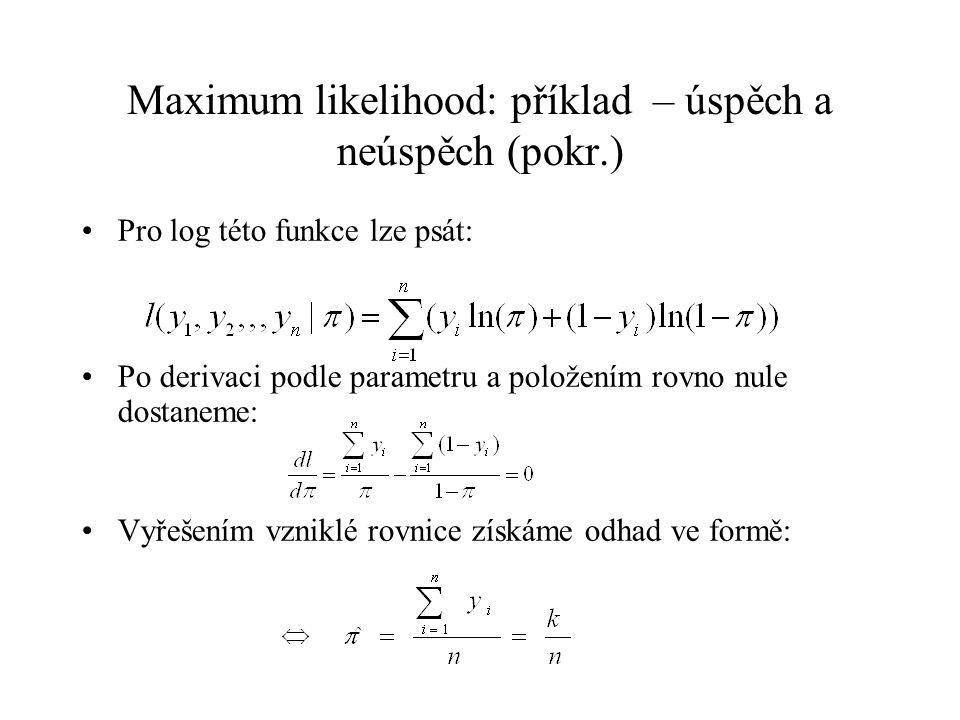 Maximum likelihood: příklad – úspěch a neúspěch (pokr.) Pro log této funkce lze psát: Po derivaci podle parametru a položením rovno nule dostaneme: Vy