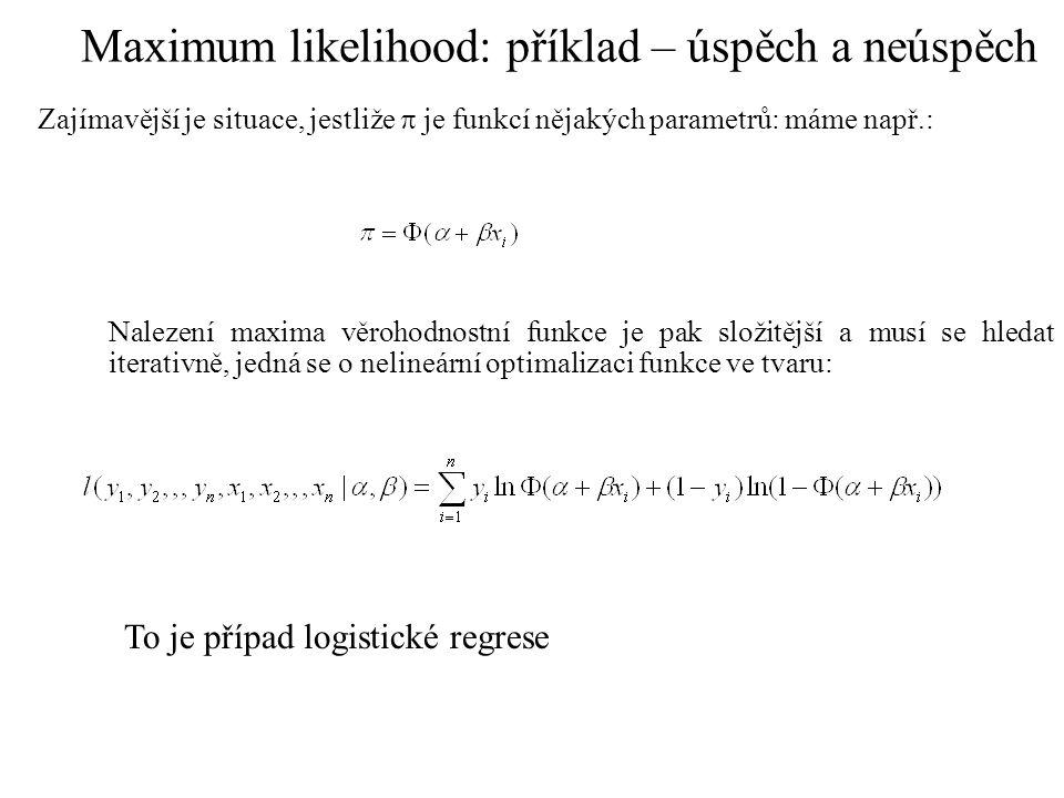 Maximum likelihood: příklad – úspěch a neúspěch Zajímavější je situace, jestliže  je funkcí nějakých parametrů: máme např.: Nalezení maxima věrohodno