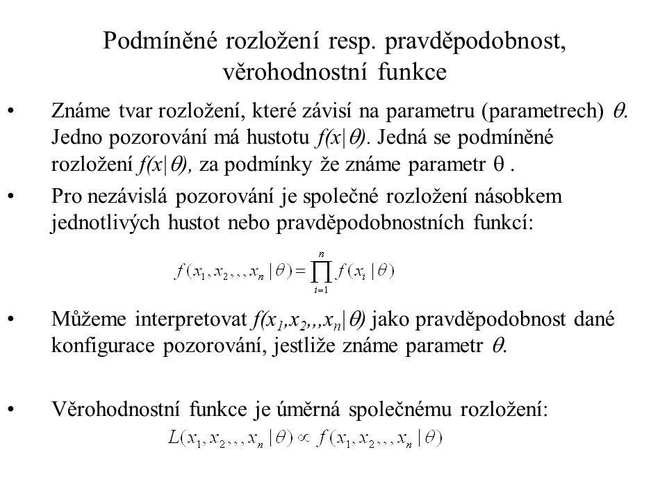 Podmíněné rozložení resp. pravděpodobnost, věrohodnostní funkce Známe tvar rozložení, které závisí na parametru (parametrech) . Jedno pozorování má h