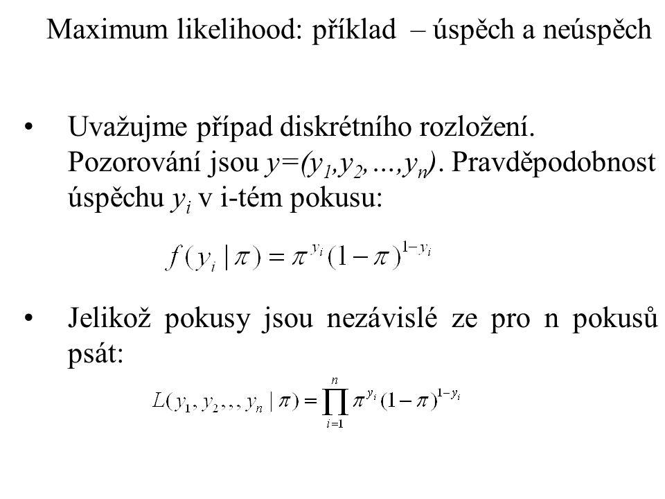 Maximum likelihood: příklad – úspěch a neúspěch Uvažujme případ diskrétního rozložení. Pozorování jsou y=(y 1,y 2,…,y n ). Pravděpodobnost úspěchu y i