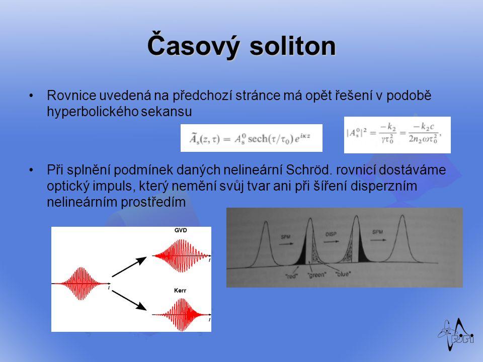 Časový soliton Rovnice uvedená na předchozí stránce má opět řešení v podobě hyperbolického sekansu Při splnění podmínek daných nelineární Schröd. rovn