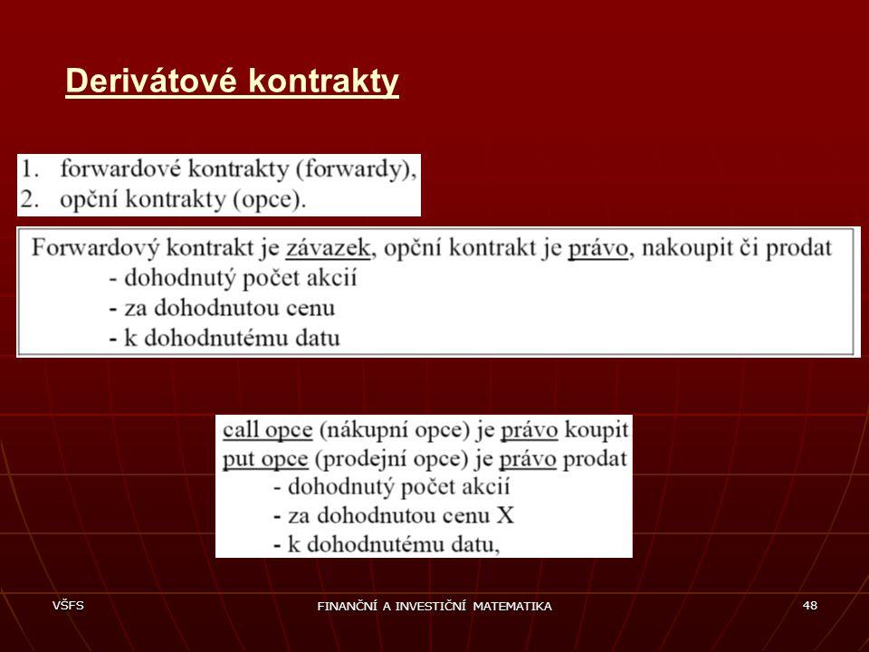 VŠFS FINANČNÍ A INVESTIČNÍ MATEMATIKA 48 Derivátové kontrakty