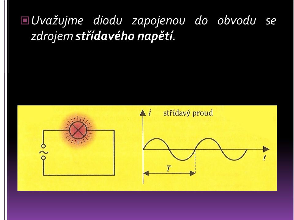 Uvažujme diodu zapojenou do obvodu se zdrojem střídavého napětí.