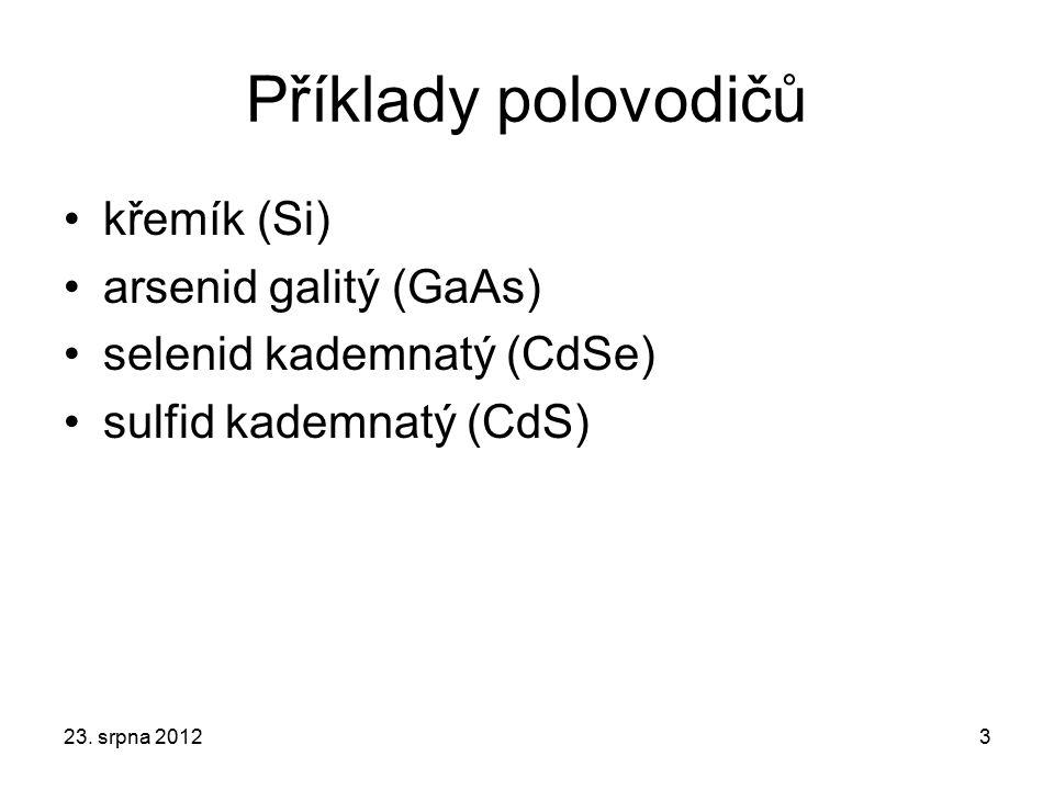 Příklady polovodičů křemík (Si) arsenid galitý (GaAs) selenid kademnatý (CdSe) sulfid kademnatý (CdS) 23. srpna 20123