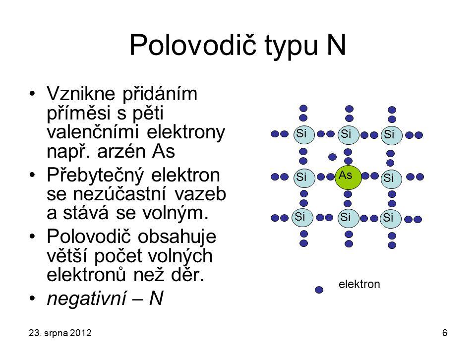 Polovodič typu N Vznikne přidáním příměsi s pěti valenčními elektrony např. arzén As Přebytečný elektron se nezúčastní vazeb a stává se volným. Polovo