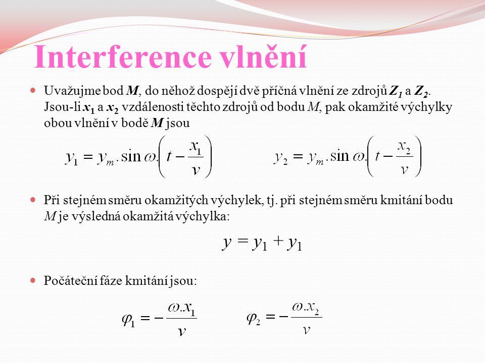 Interference vlnění Uvažujme bod M, do něhož dospějí dvě příčná vlnění ze zdrojů Z 1 a Z 2. Jsou-li x 1 a x 2 vzdálenosti těchto zdrojů od bodu M, pak