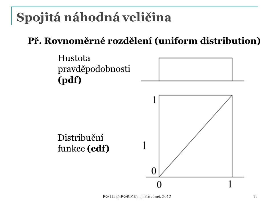 Spojitá náhodná veličina PG III (NPGR010) - J. Křivánek 2012 17 Hustota pravděpodobnosti (pdf) Př.