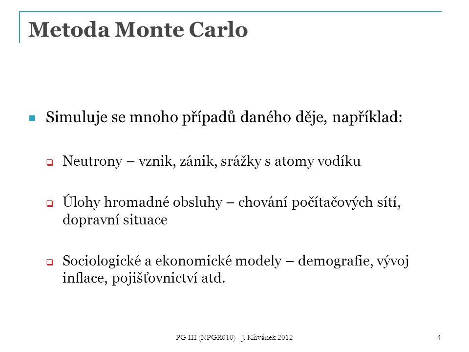 Metoda Monte Carlo Simuluje se mnoho případů daného děje, například:  Neutrony – vznik, zánik, srážky s atomy vodíku  Úlohy hromadné obsluhy – chování počítačových sítí, dopravní situace  Sociologické a ekonomické modely – demografie, vývoj inflace, pojišťovnictví atd.