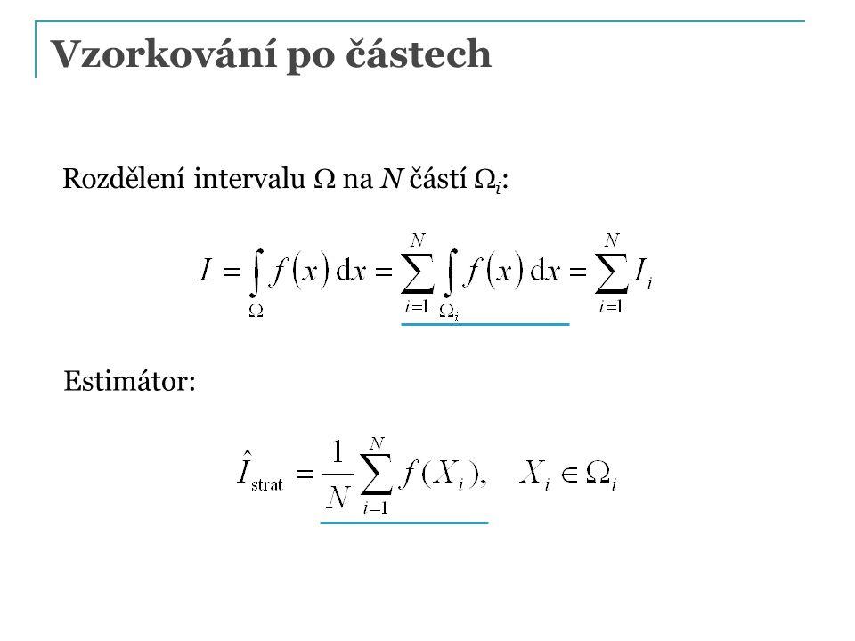 Rozdělení intervalu  na N částí  i : Estimátor: Vzorkování po částech