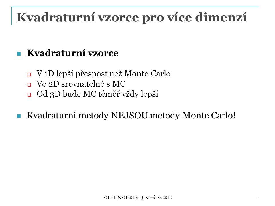 Kvadraturní vzorce pro více dimenzí Kvadraturní vzorce  V 1D lepší přesnost než Monte Carlo  Ve 2D srovnatelné s MC  Od 3D bude MC téměř vždy lepší Kvadraturní metody NEJSOU metody Monte Carlo.