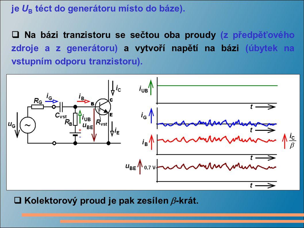 je U B téct do generátoru místo do báze).  Na bázi tranzistoru se sečtou oba proudy (z předpěťového zdroje a z generátoru) a vytvoří napětí na bázi (