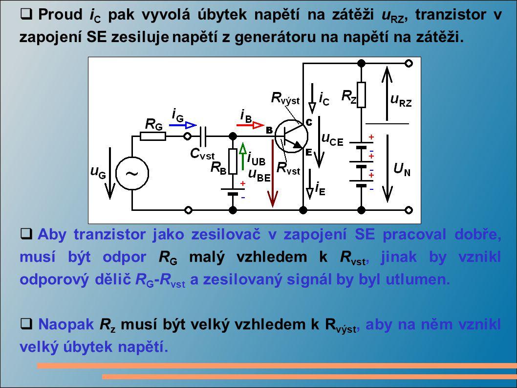  Proud i C pak vyvolá úbytek napětí na zátěži u RZ, tranzistor v zapojení SE zesiluje napětí z generátoru na napětí na zátěži.  Aby tranzistor jako