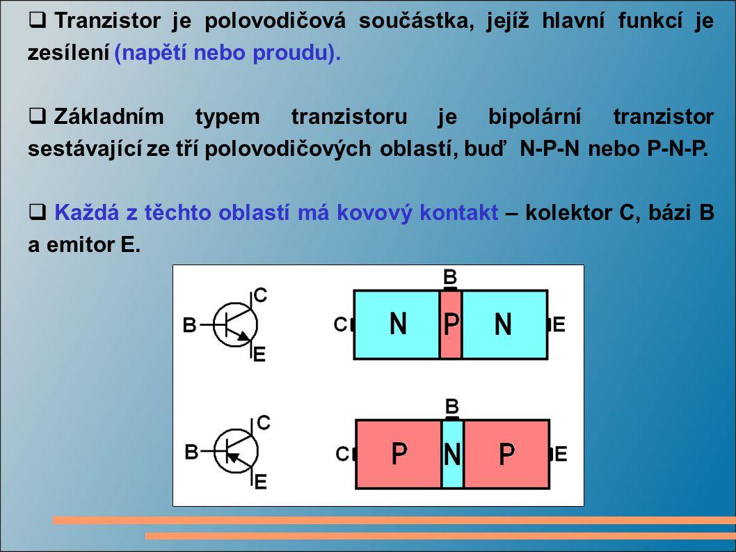  Tranzistor je polovodičová součástka, jejíž hlavní funkcí je zesílení (napětí nebo proudu).  Základním typem tranzistoru je bipolární tranzistor se
