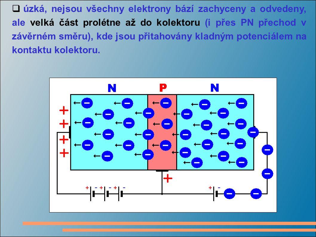  úzká, nejsou všechny elektrony bází zachyceny a odvedeny, ale velká část prolétne až do kolektoru (i přes PN přechod v závěrném směru), kde jsou při