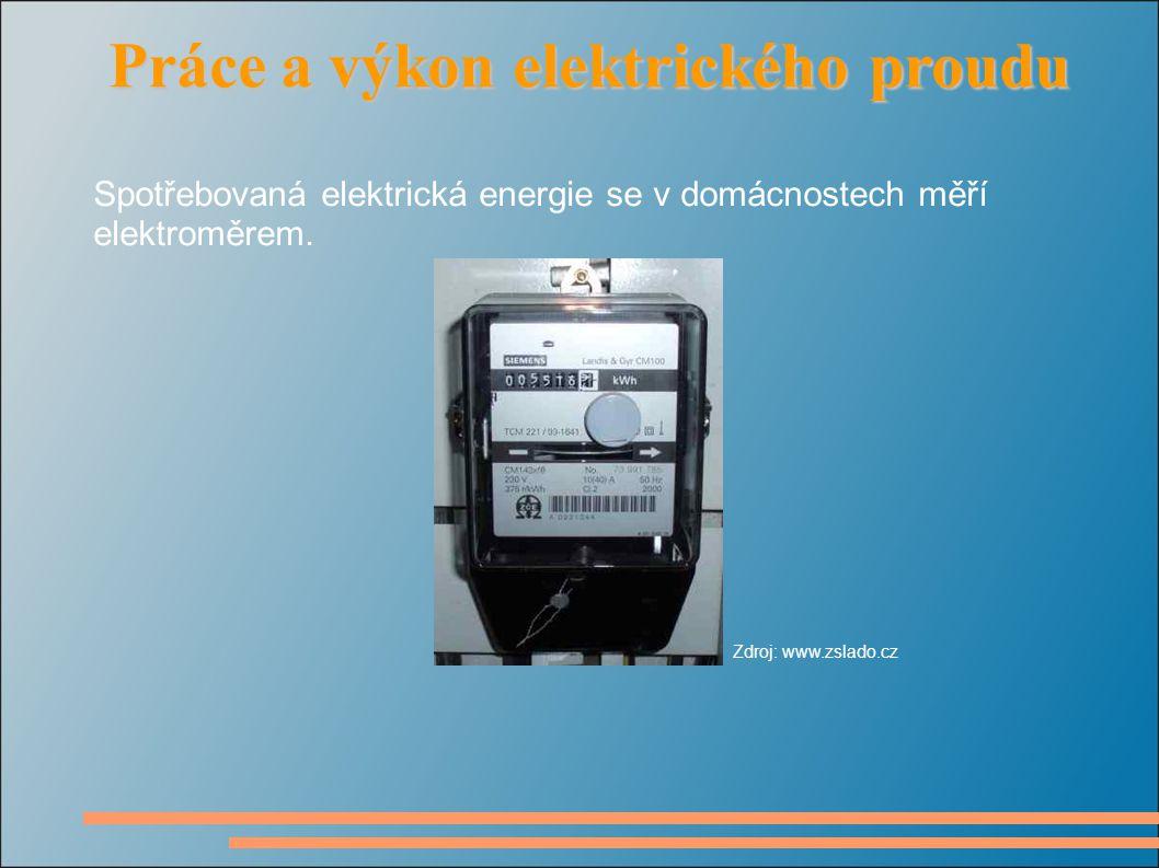 Spotřebovaná elektrická energie se v domácnostech měří elektroměrem.