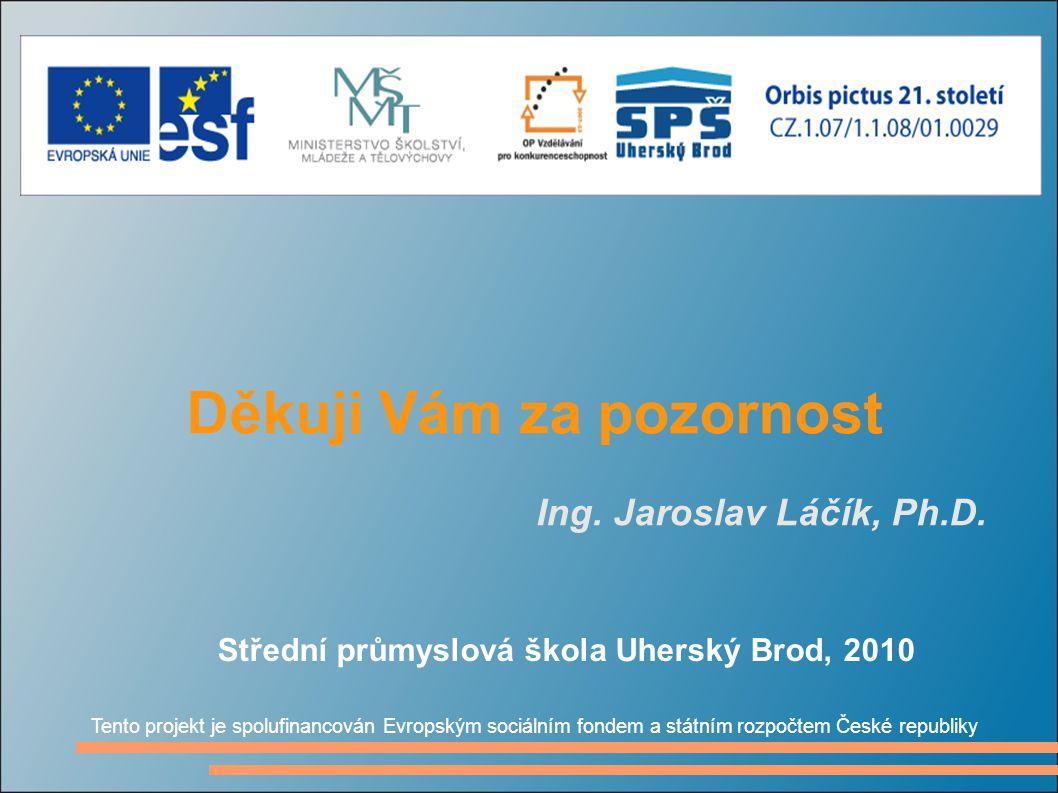 Děkuji Vám za pozornost Ing. Jaroslav Láčík, Ph.D.