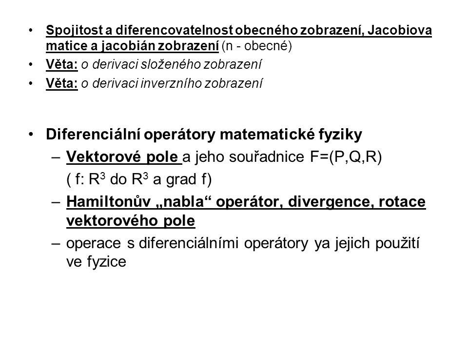 Spojitost a diferencovatelnost obecného zobrazení, Jacobiova matice a jacobián zobrazení (n - obecné) Věta: o derivaci složeného zobrazení Věta: o der