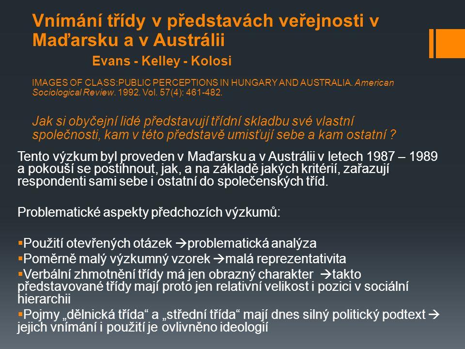 Vnímání třídy v představách veřejnosti v Maďarsku a v Austrálii Evans - Kelley - Kolosi IMAGES OF CLASS:PUBLIC PERCEPTIONS IN HUNGARY AND AUSTRALIA.