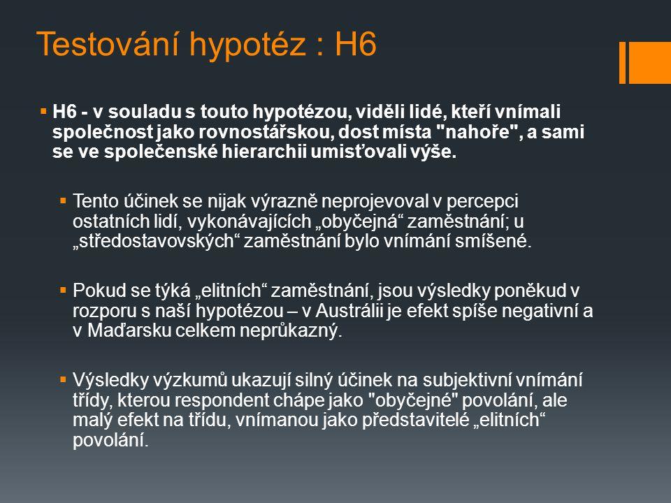 Testování hypotéz : H6  H6 - v souladu s touto hypotézou, viděli lidé, kteří vnímali společnost jako rovnostářskou, dost místa nahoře , a sami se ve společenské hierarchii umisťovali výše.