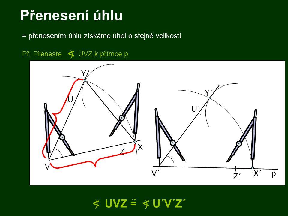 Přenesení úhlu = přenesením úhlu získáme úhel o stejné velikosti V U Z V´ U´ Z´ UVZ = U´V´Z´ ~ < ) < ) X Y X´ Y´ p Př. Přeneste UVZ k přímce p. < )