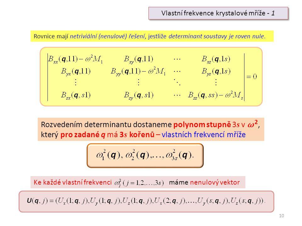 10 Vlastní frekvence krystalové mříže - 1 Rovnice mají netriviální (nenulové) řešení, jestliže determinant soustavy je roven nule. Rozvedením determin