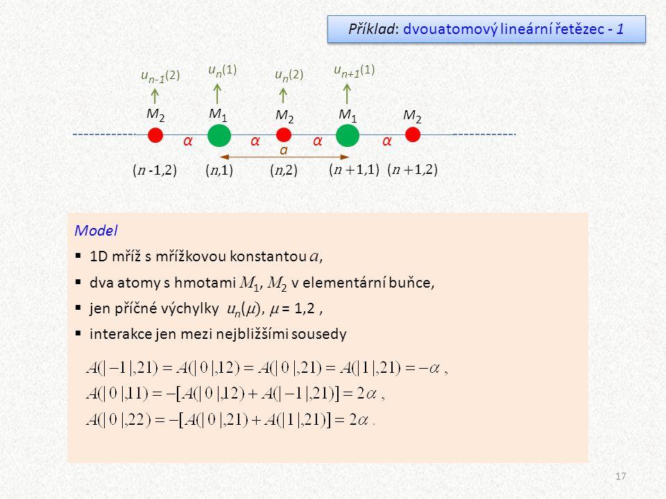17 Příklad: dvouatomový lineární řetězec - 1 M1M1 M1M1 M2M2 M2M2 M2M2 a αααα ( n,1 )( n,2 ) ( n +1,1 )( n +1,2 ) ( n -1,2 ) u n (1) u n (2) u n+1 (1)
