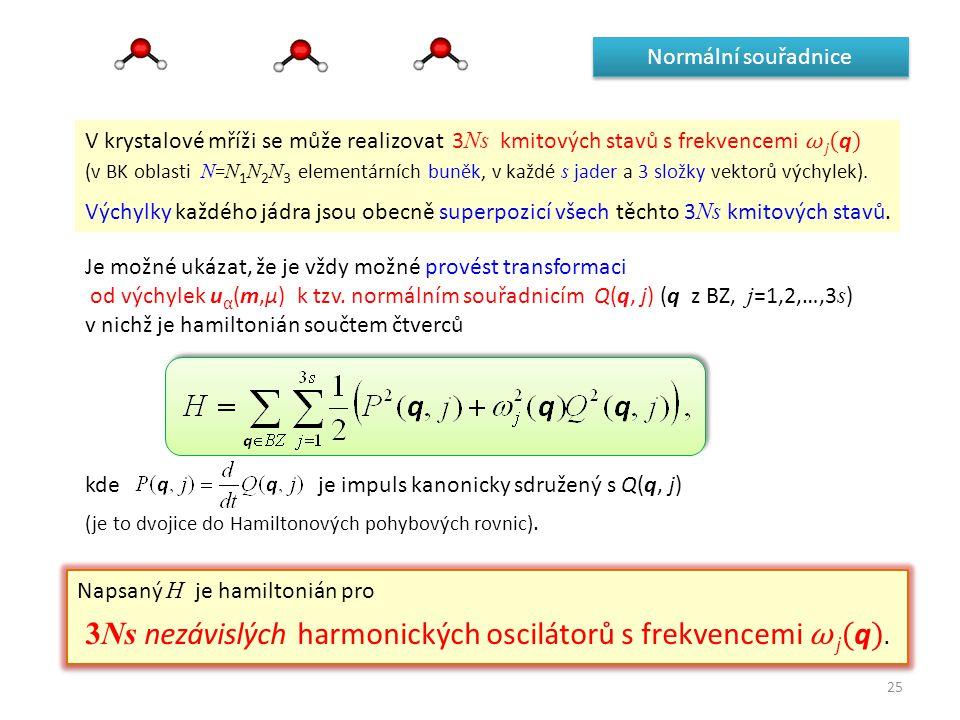 25 Normální souřadnice V krystalové mříži se může realizovat 3 Ns kmitových stavů s frekvencemi ω j ( q ) (v BK oblasti N = N 1 N 2 N 3 elementárních