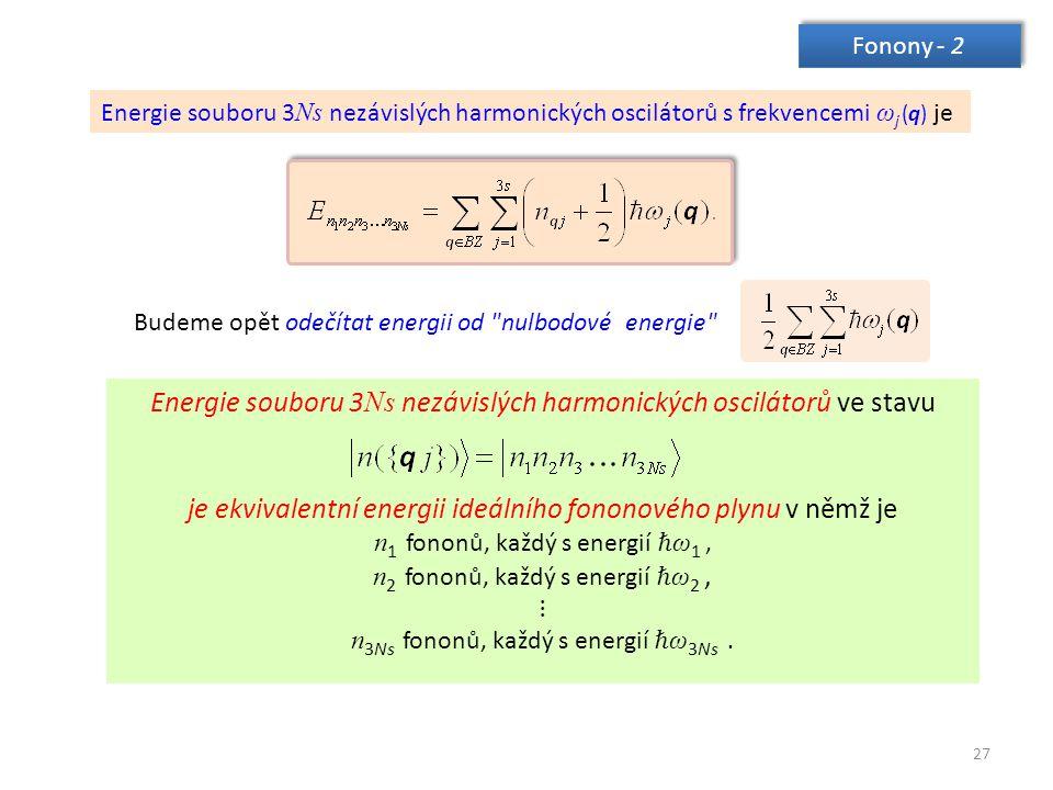 27 Fonony - 2 Energie souboru 3 Ns nezávislých harmonických oscilátorů s frekvencemi ω j (q) je Energie souboru 3 Ns nezávislých harmonických osciláto